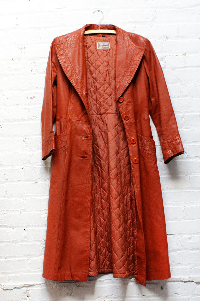 70s Foxmoor Leather Trench XS/S