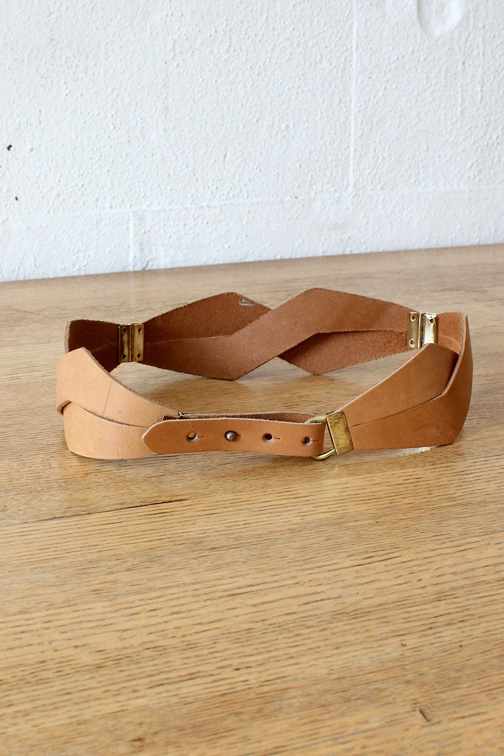 Angular Leather Cinch Belt
