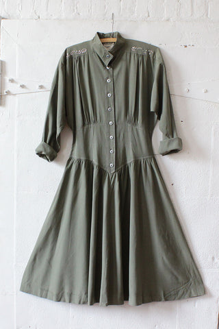 Sage Silk Char Dolly Dress M