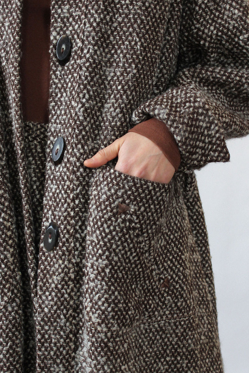 1940s Tweed Swing Coat Ensemble XS