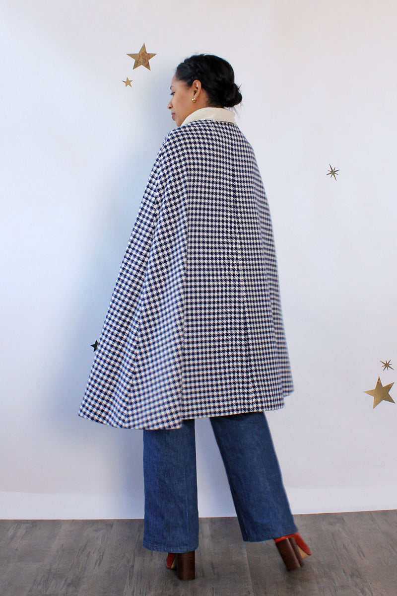 Katie Houndstooth Cutout Cape S-L