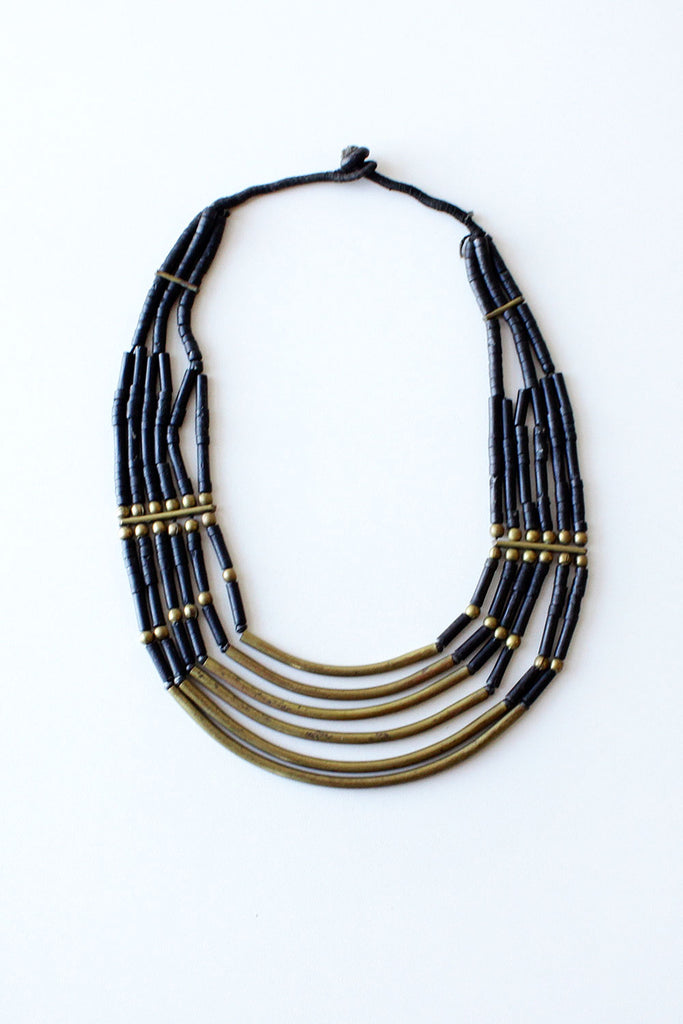 Brass River Bib Necklace