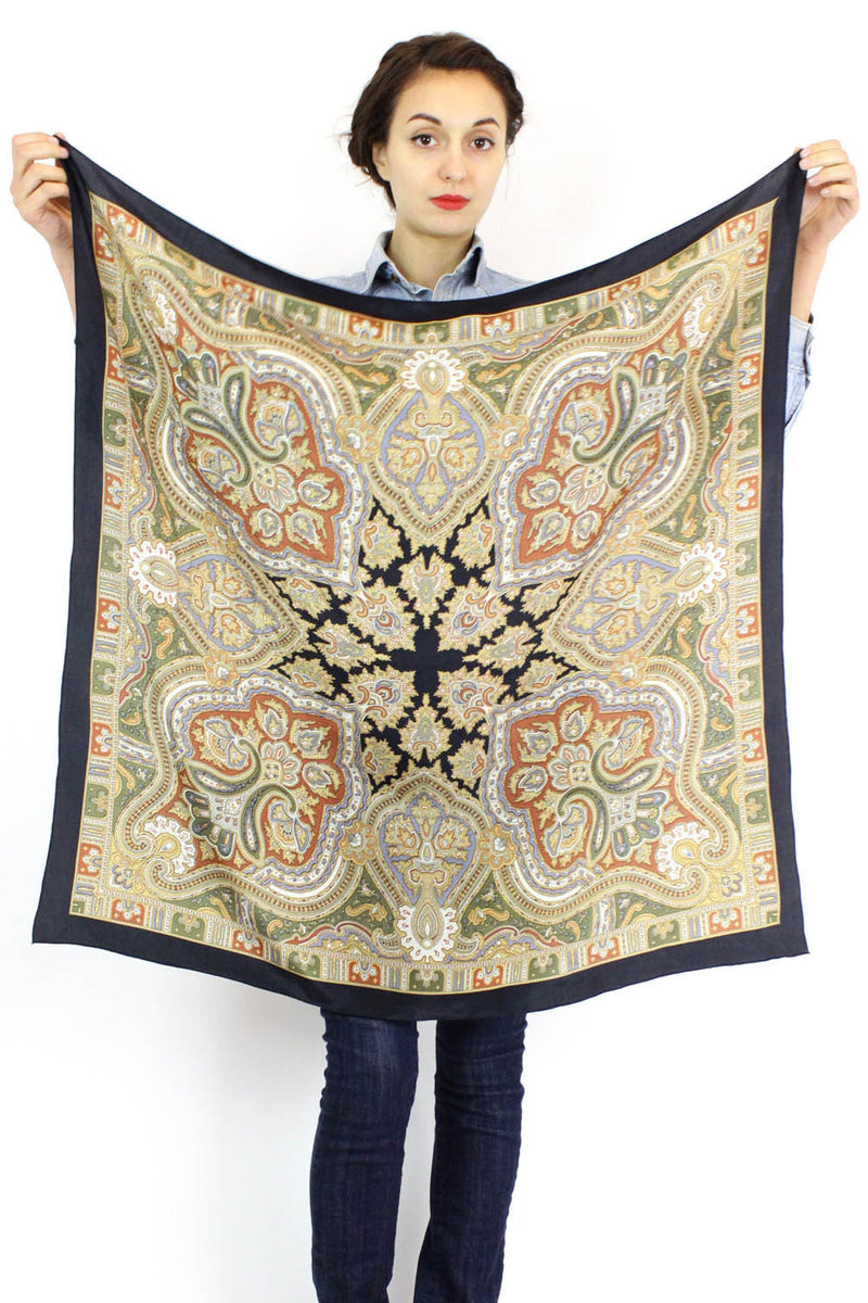 midnight paisley silk scarf