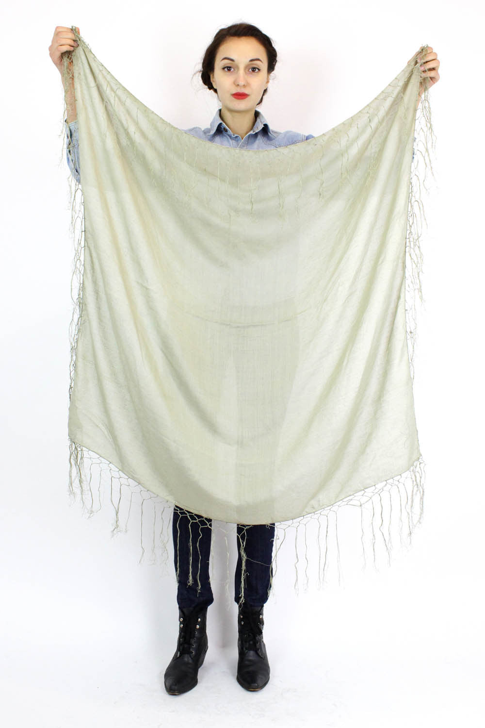 mossy green cotton fringed scarf