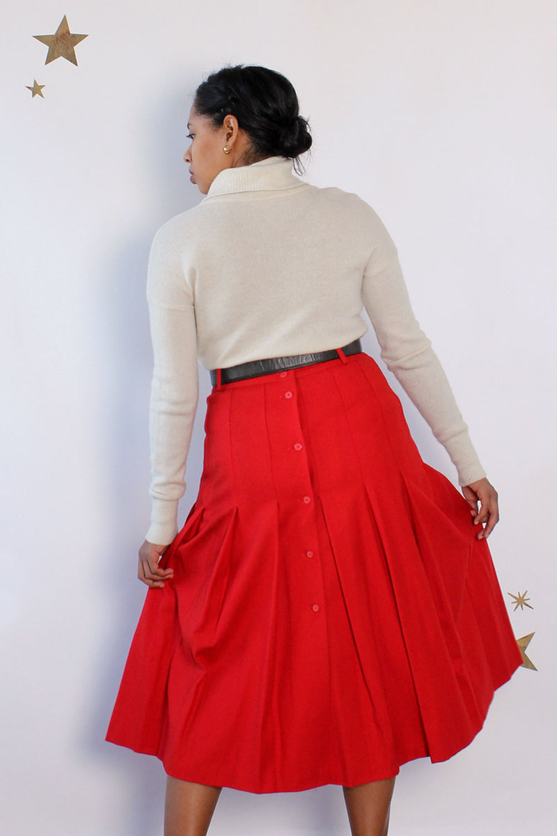 Holly Wool Buttonback Skirt L