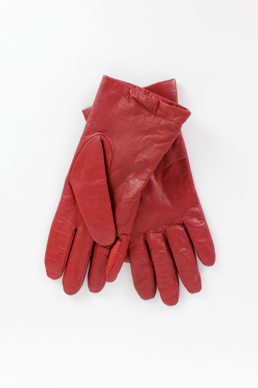 SALE... Cranberry Red Leather Gloves M