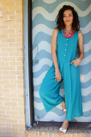 Teal Wide Leg Jumpsuit M