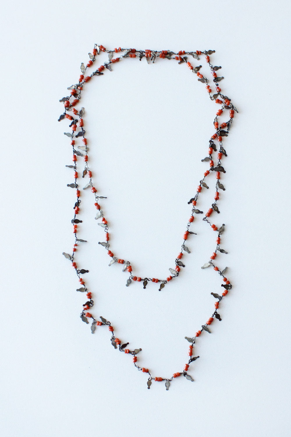 Coral Brass Chip Necklace