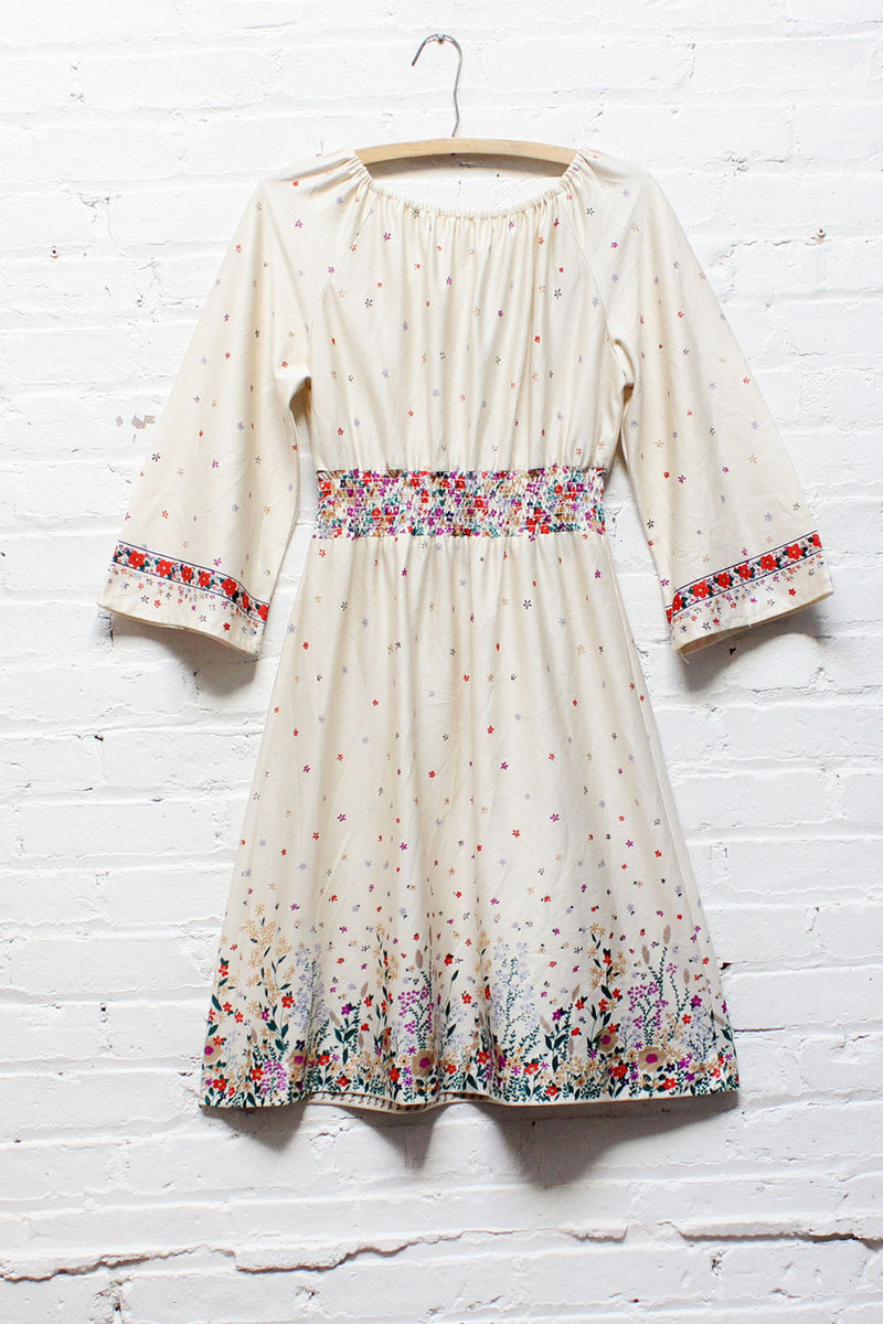 70s Flare Sleeve Peasant Dress M