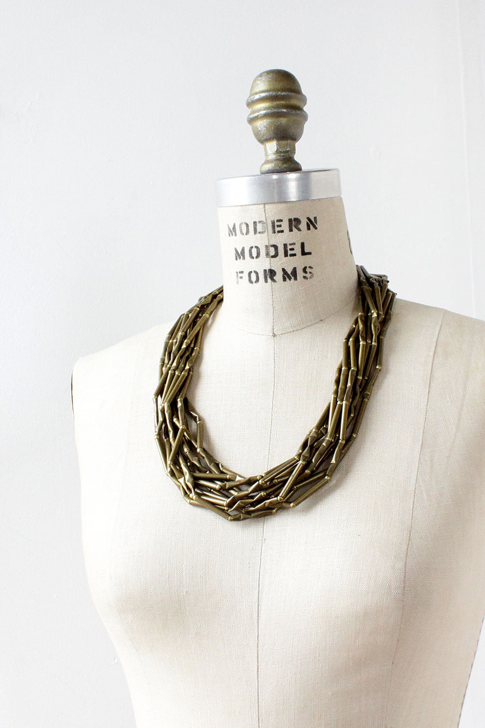 Bamboo Brass Strand Necklace