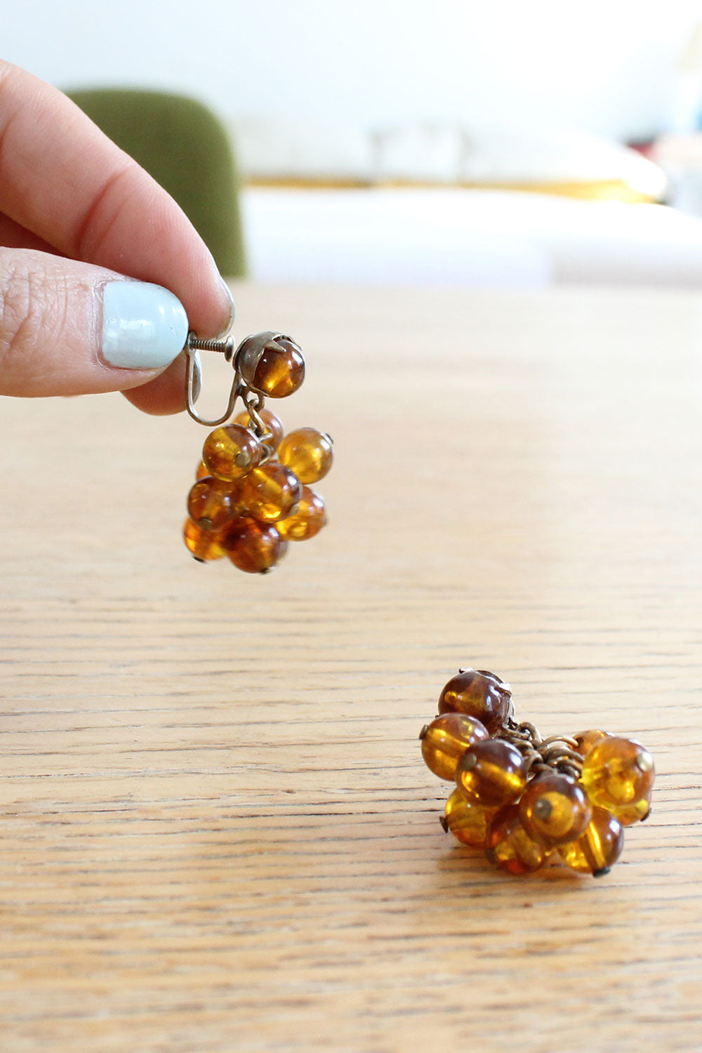 Amber Cluster Screw-backs