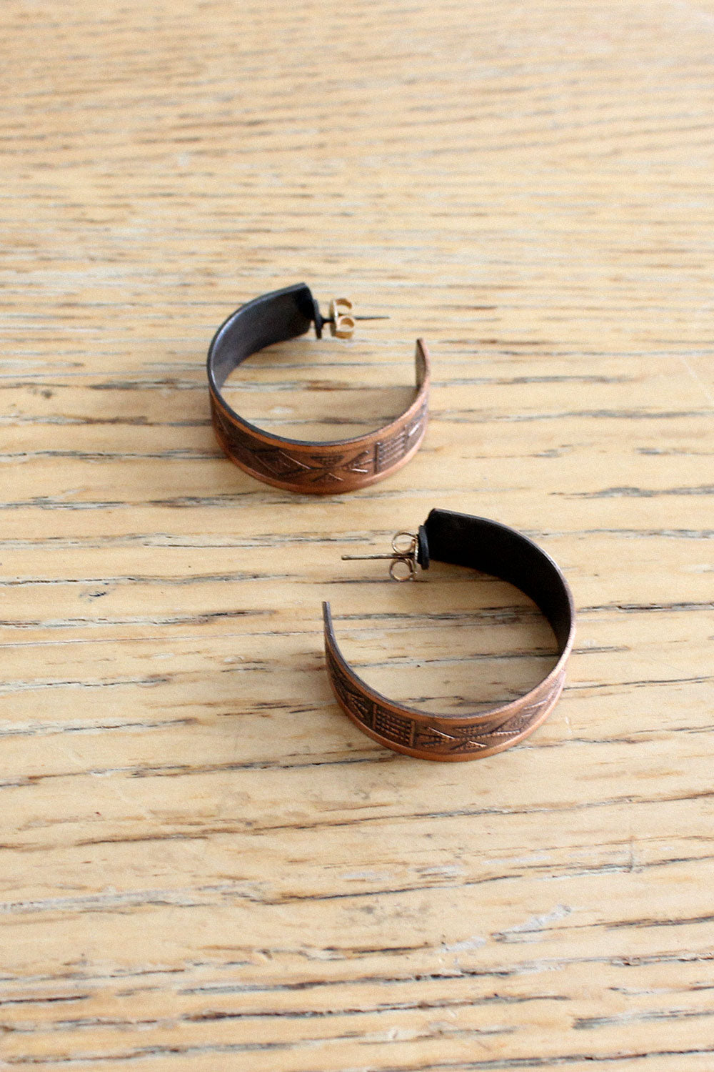 Copper Etched Hoops