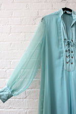 Ice Blue Lace-up Sheer Dress M/L