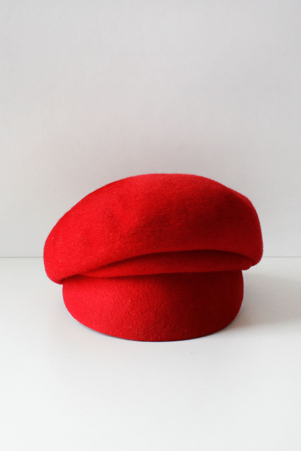 Red Wool Sculpted Newsboy Cap