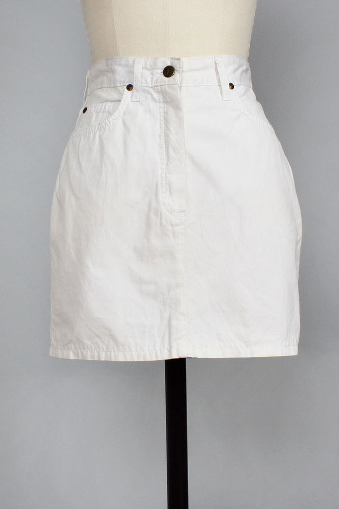 Lee White Denim Mini Skirt S