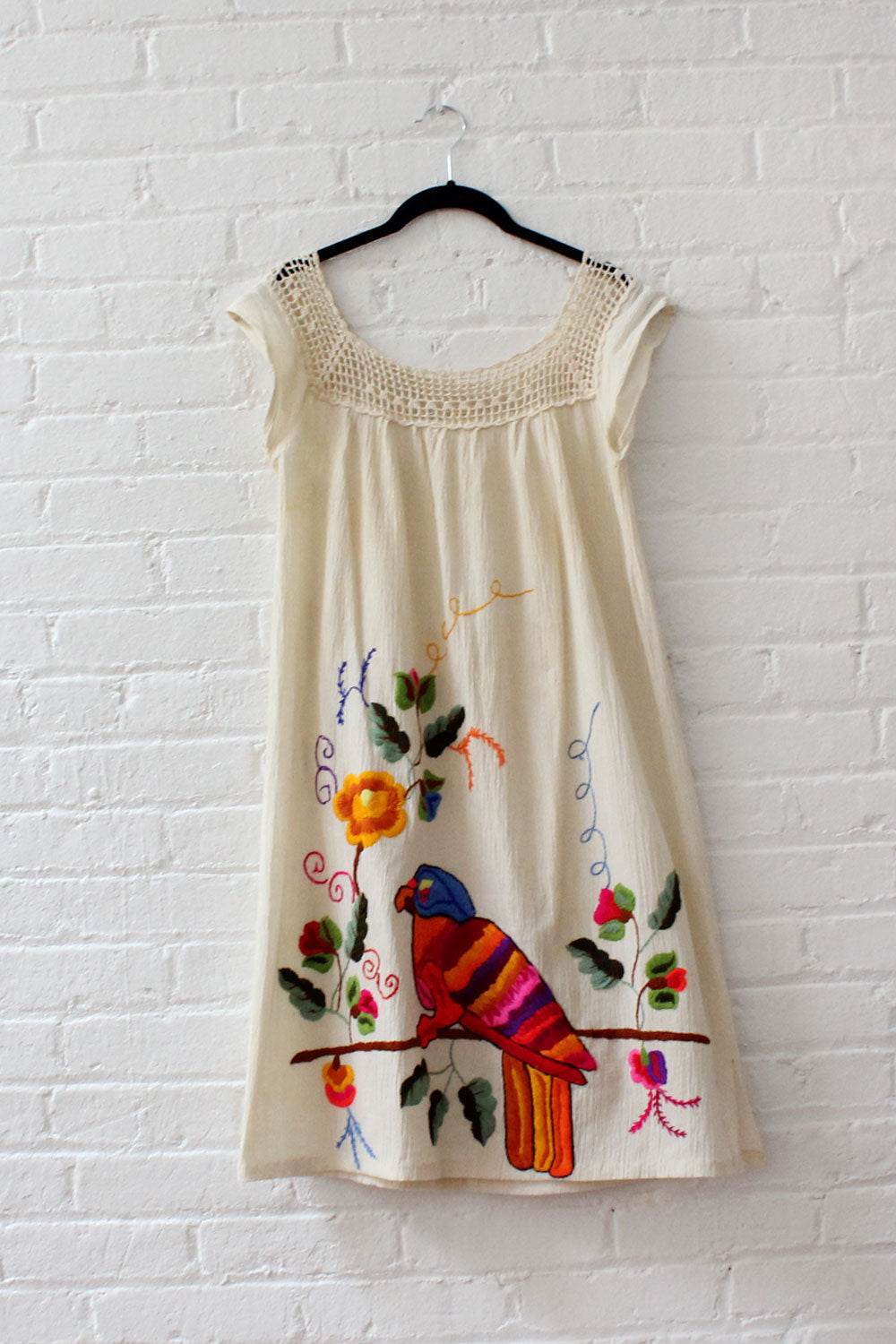 Macaw Rainbow Embroidered Dress XS-M