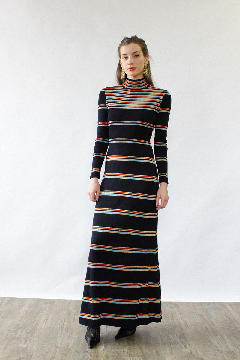 Metallic Stripe Maxi Dress S/M