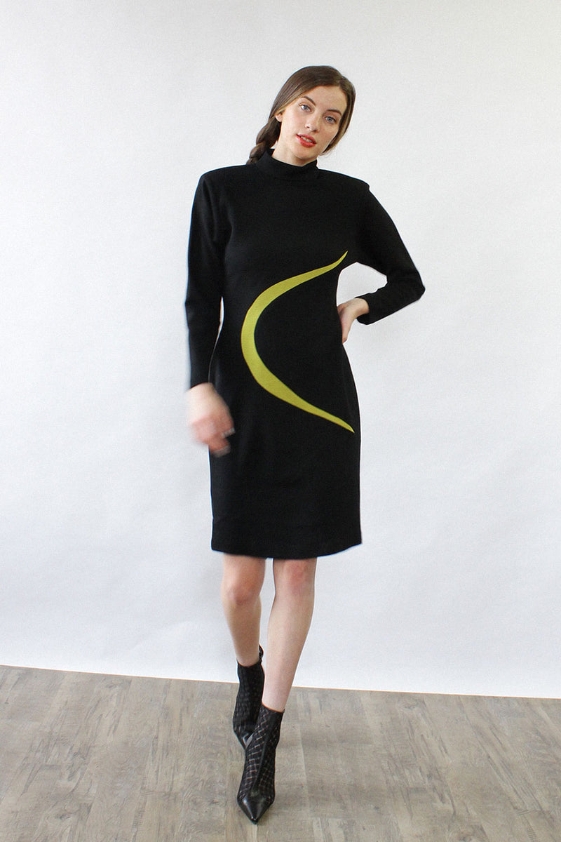 Lime Swoosh Wool Dress M
