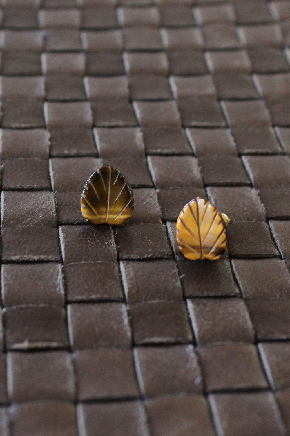 Tiger Eye Leaf Studs