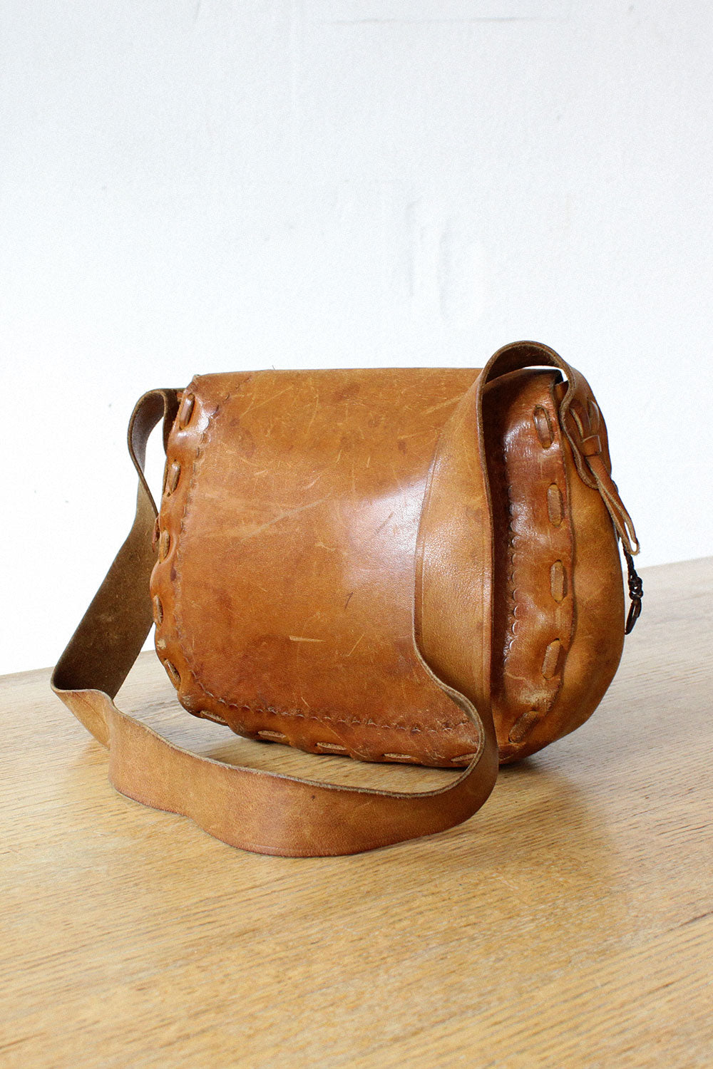 Bone & Leather Tooled Purse