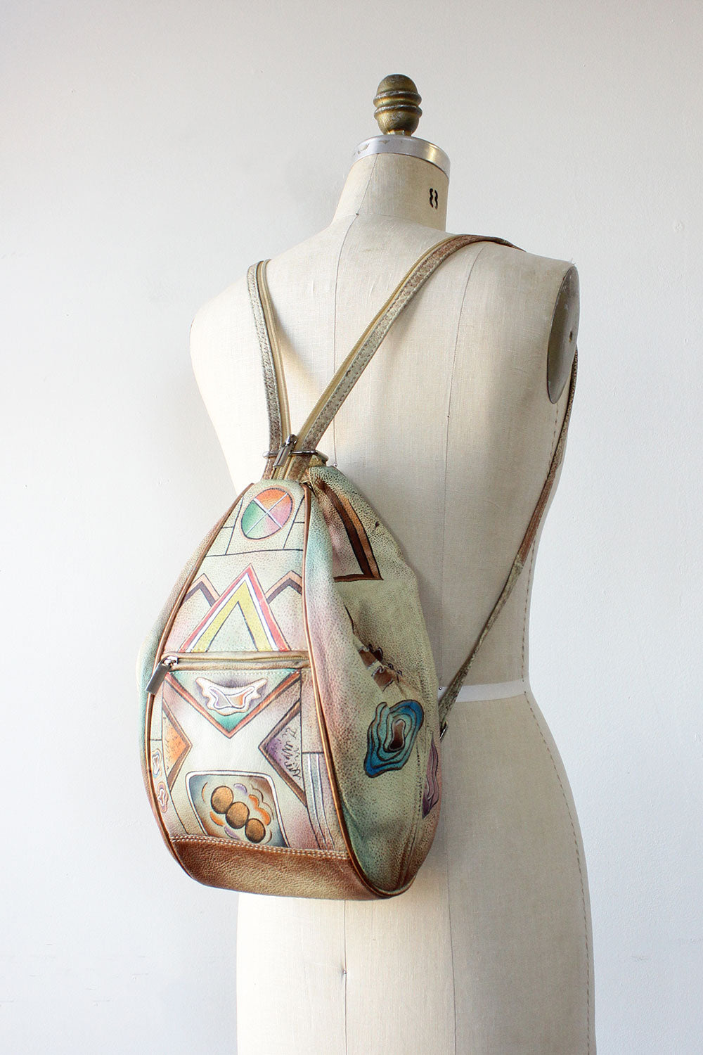 Abstract Painted Leather Backpack