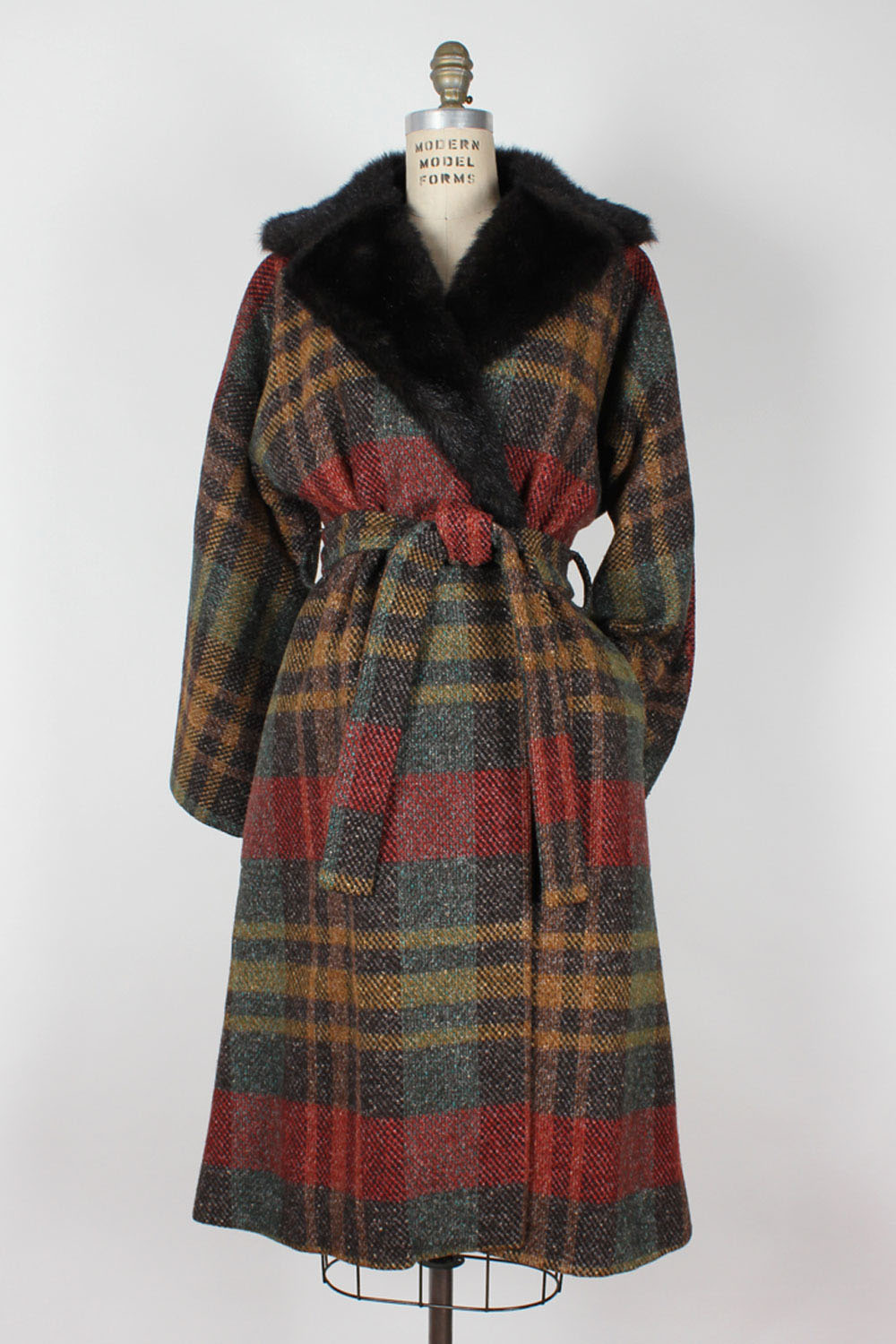 Cozy Plaid Wrap Coat M/L