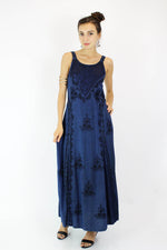 Inky Indian Maxi Dress S/M