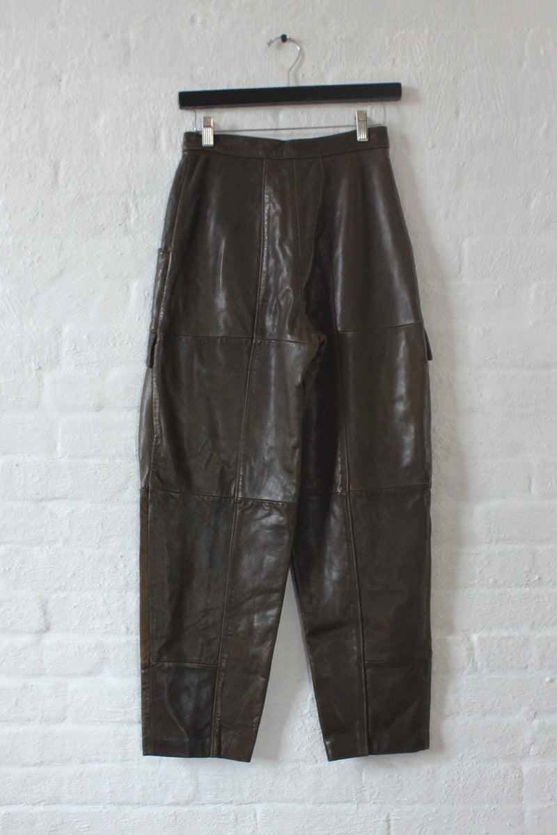 North Beach Olive Leather Cargo Pant S