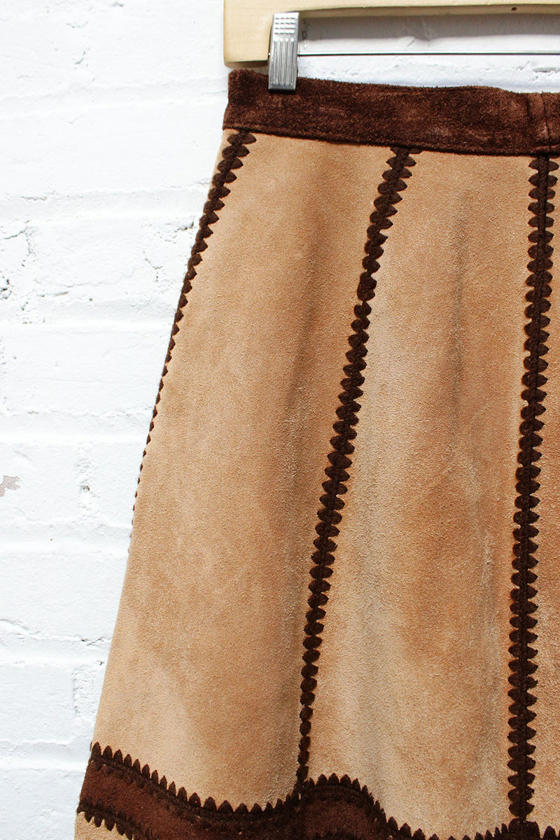 Two Tone Suede Crochet Skirt M