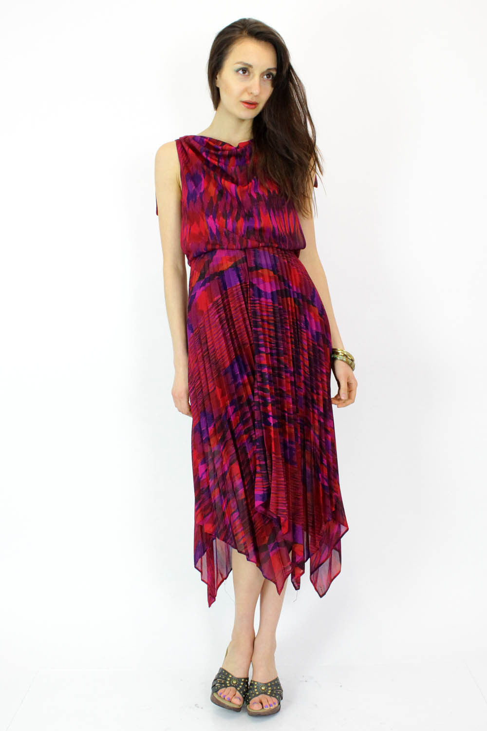 70s Jeweled Space Dye Dress S/M