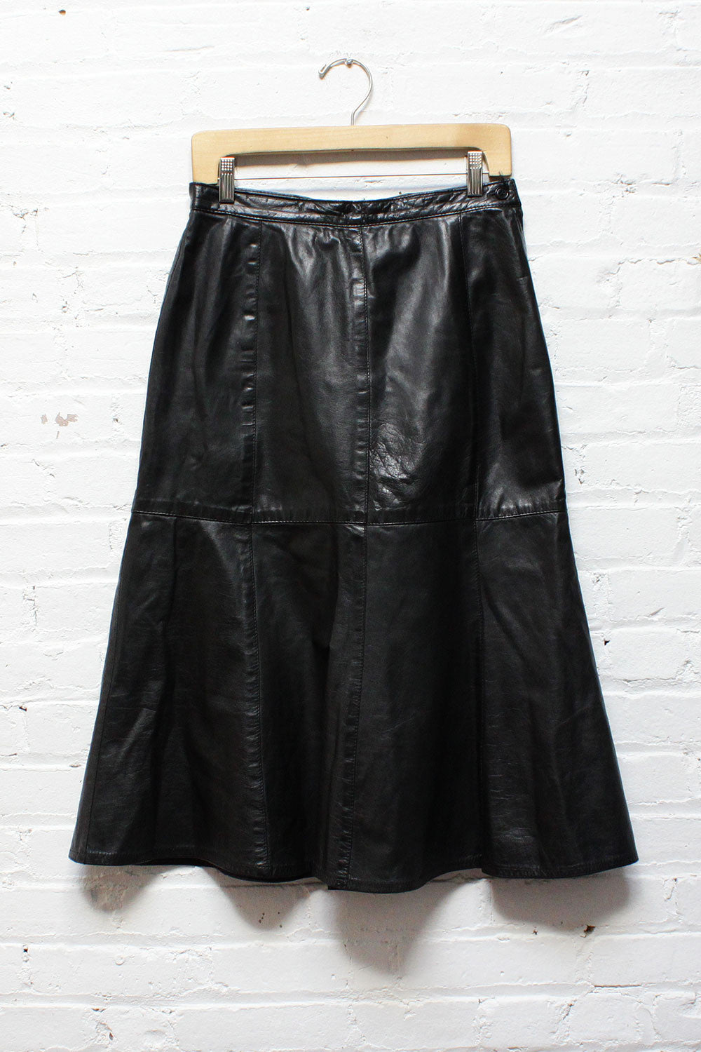 Black Leather Flare Skirt M