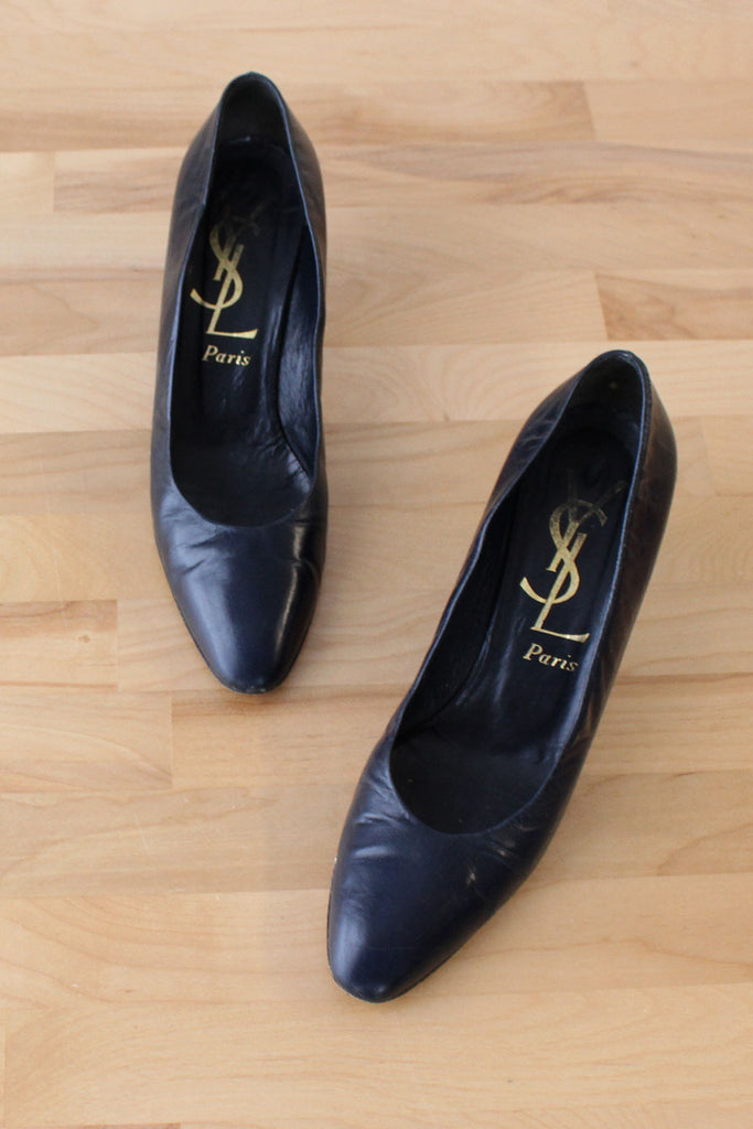 YSL Navy Pumps 7 1/2