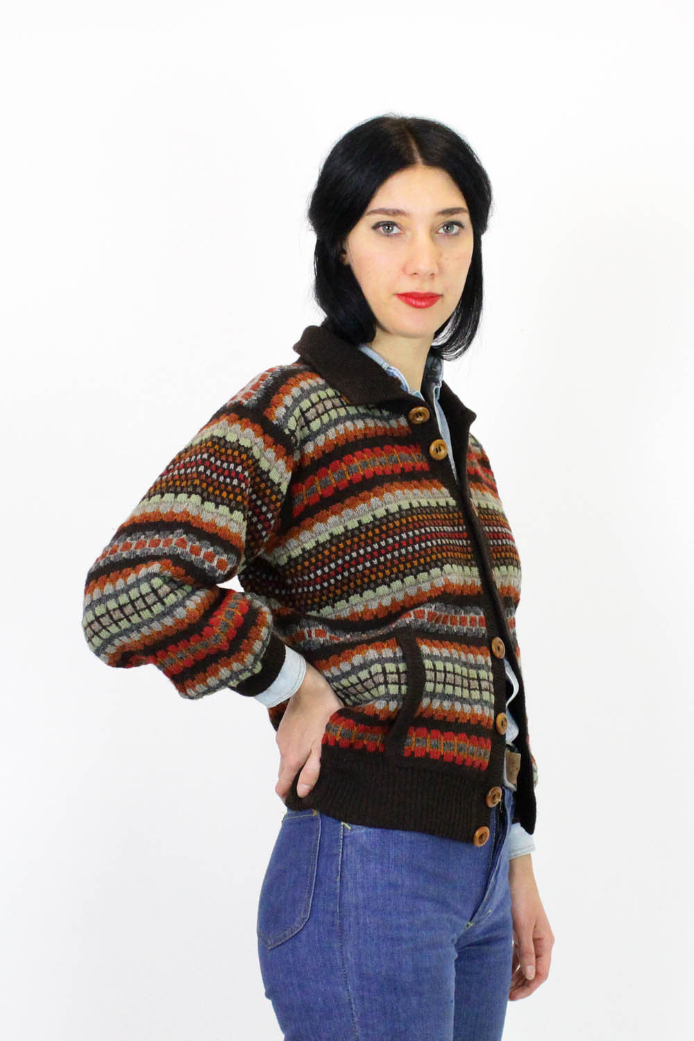 70s Into the Woods Cardigan M