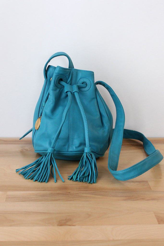 Turquoise Leather Mini Bucket Bag