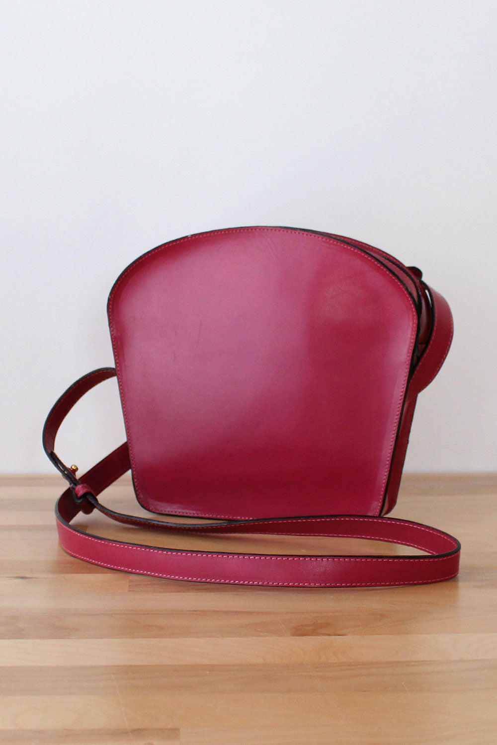 Magenta Structured Leather Bag