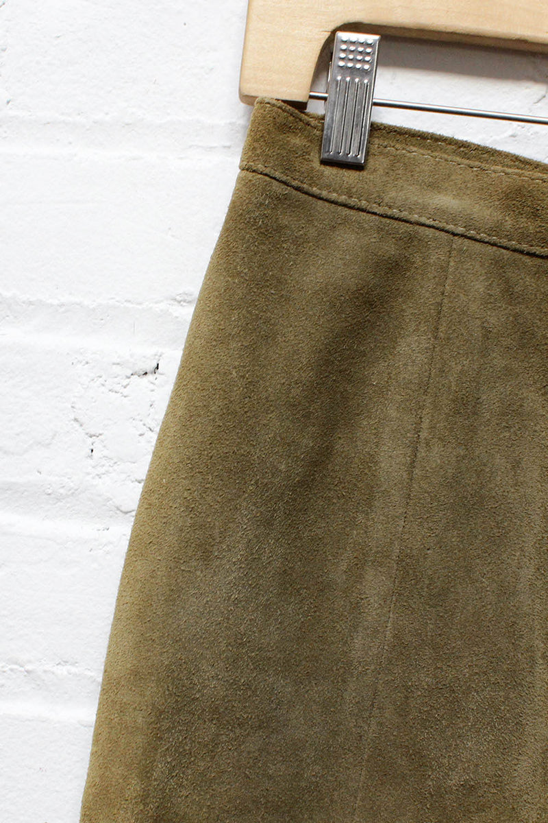 Olive Suede Skirt S/M