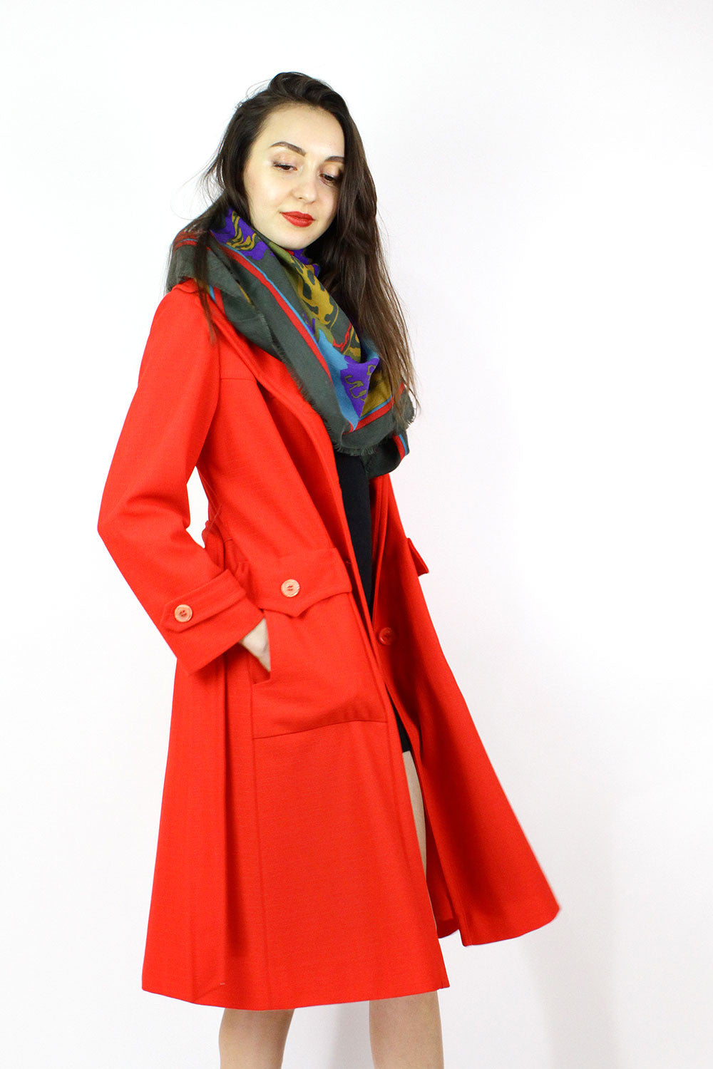Bright Red Belted Trench S/M