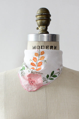 Peony Embroidered Neck Scarf