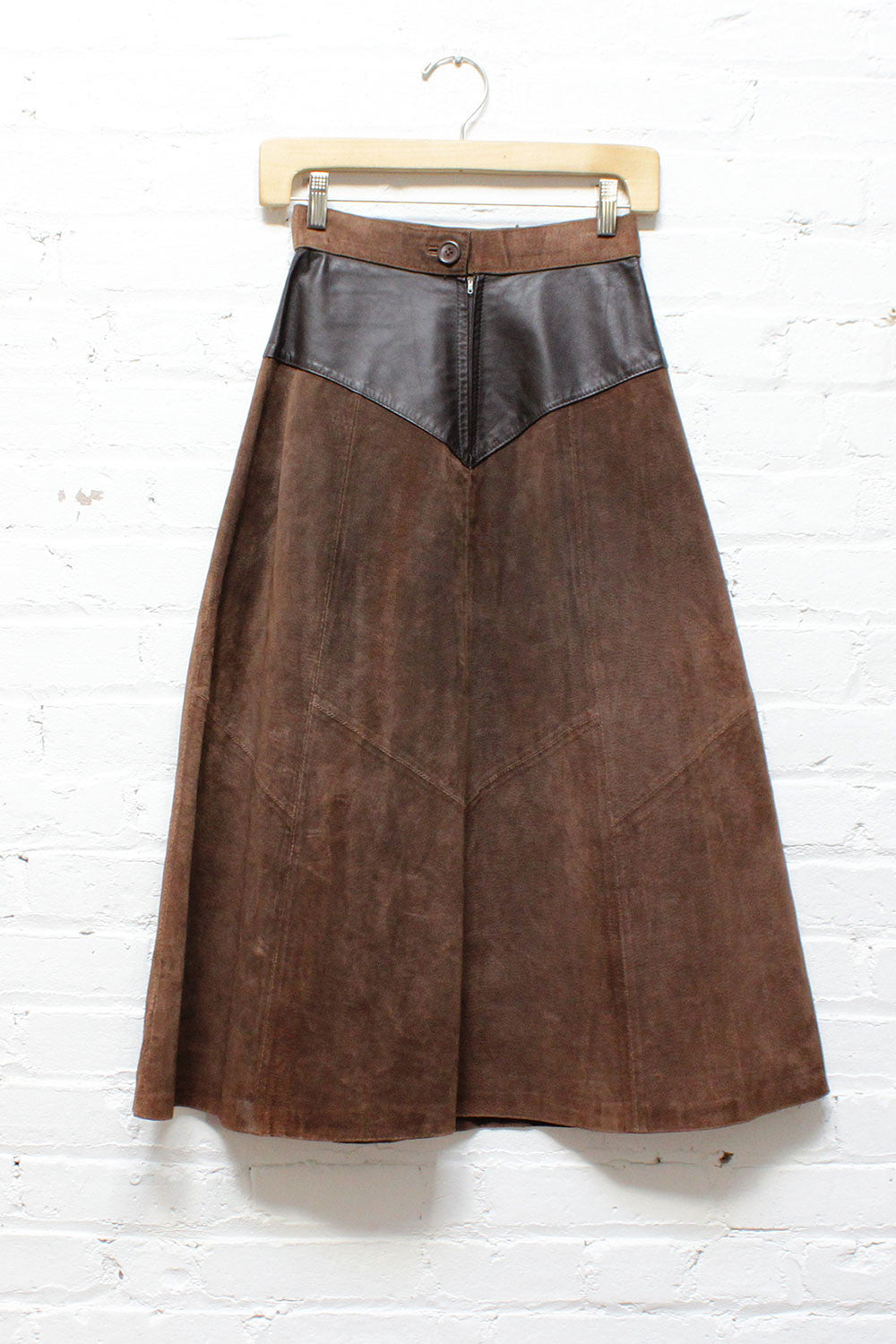 Patched Leather High Waist Skirt XS