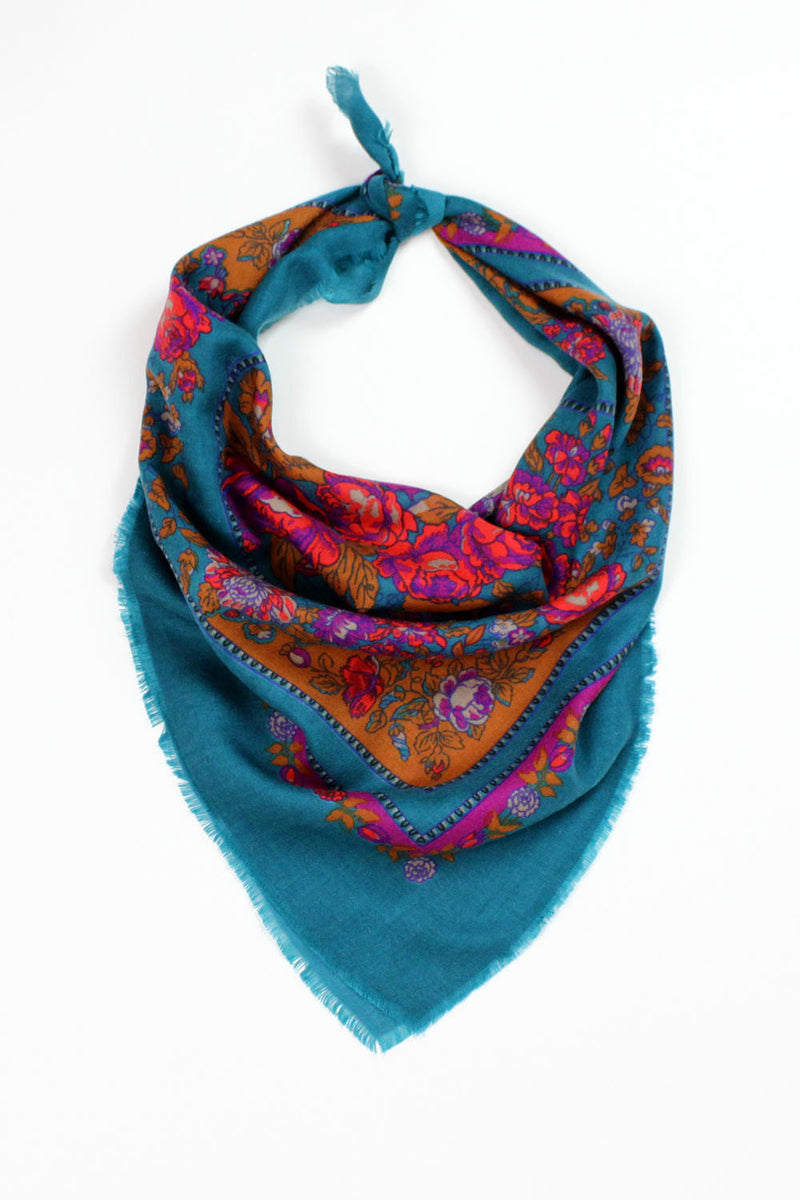 Teal tapestry scarf