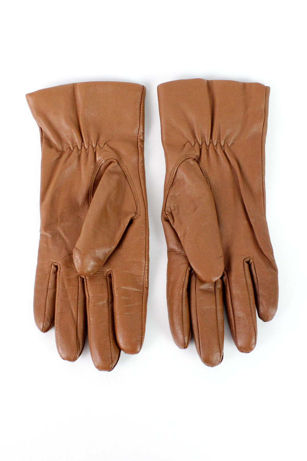 Etienne Aigner Chestnut Leather Gloves S