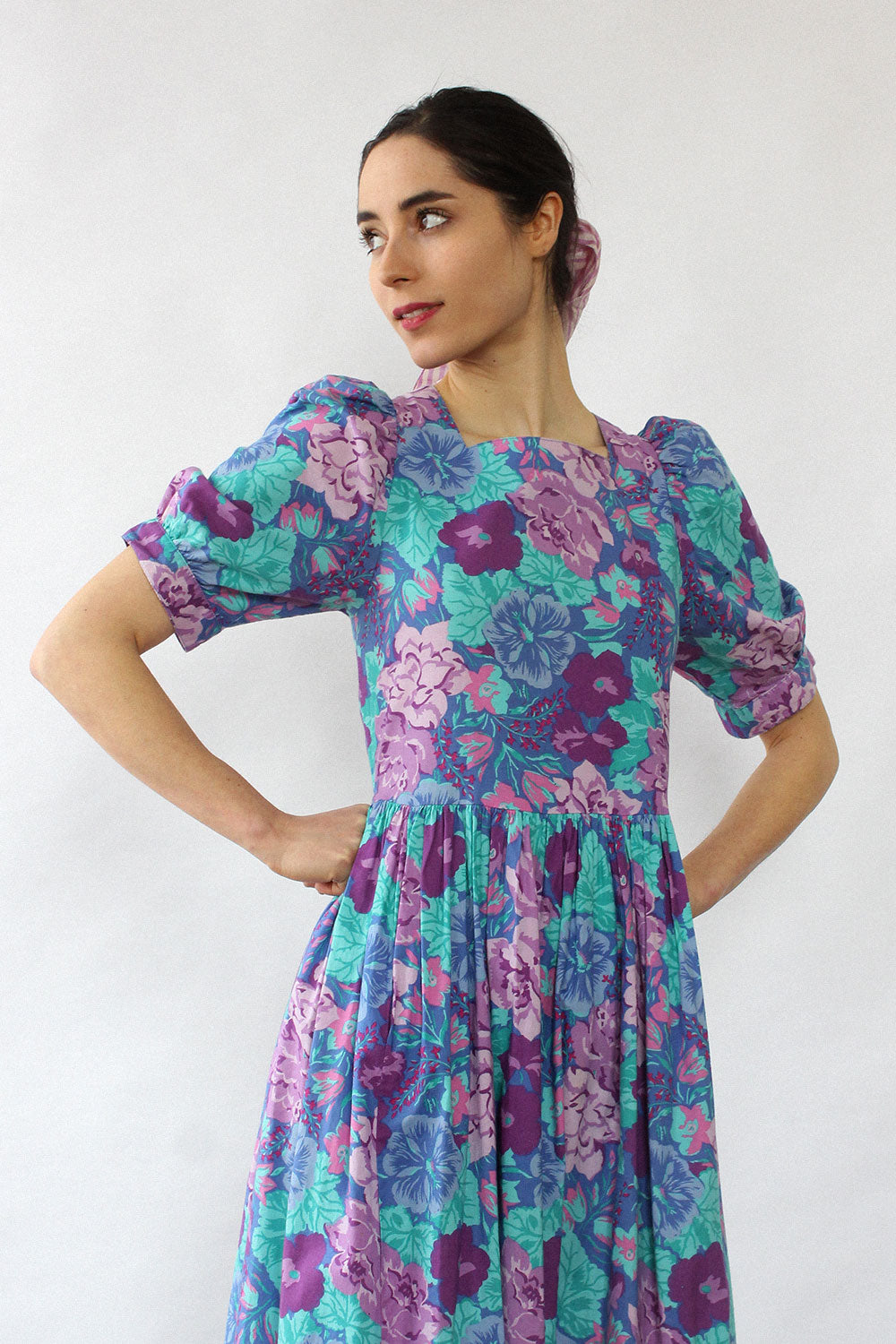 Laura Ashley Teal Floral Dress XS/S