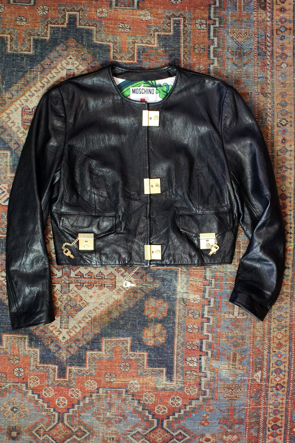 Moschino Cheap and Chic Black Leather Jacket w/ Locking Locks M
