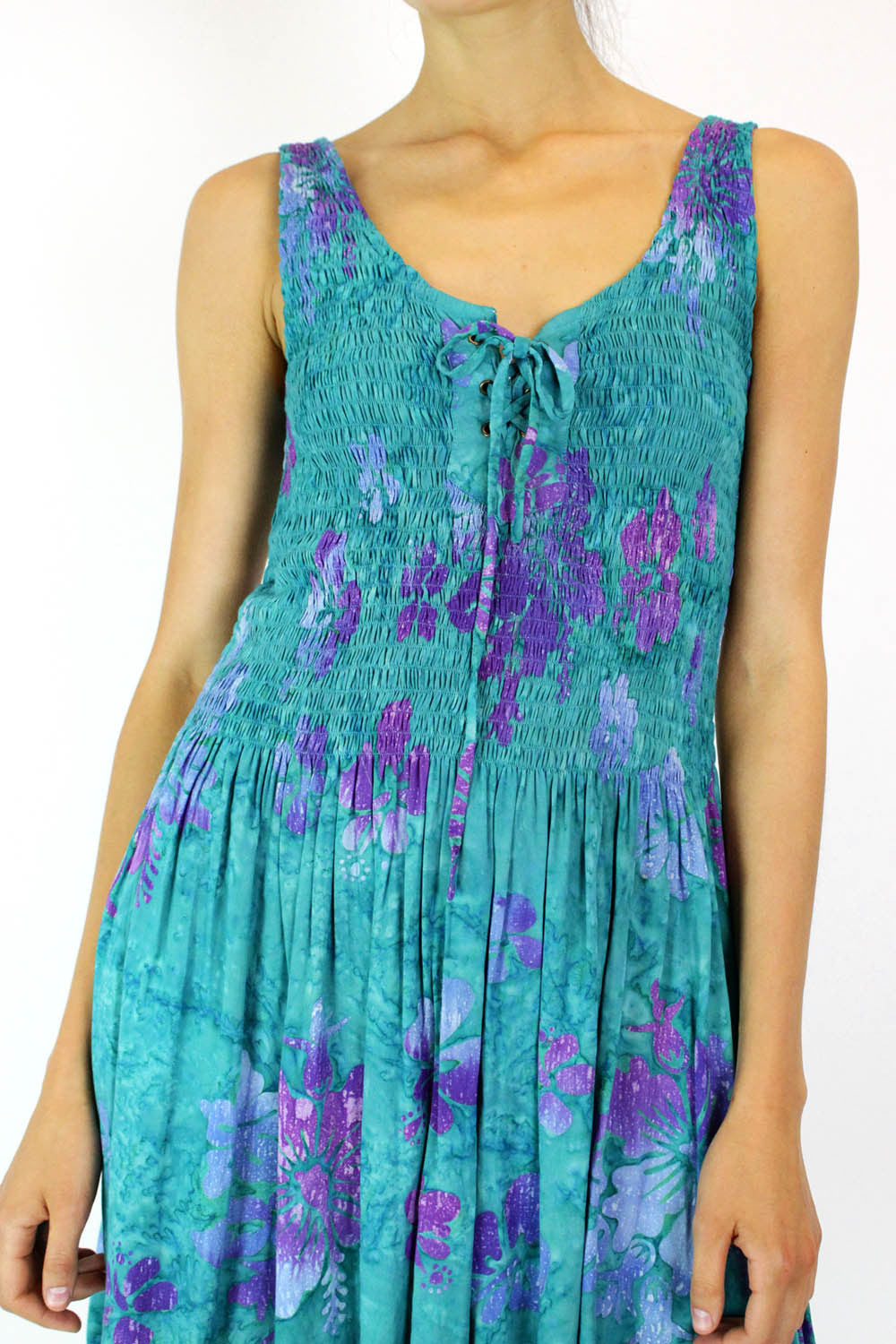 Smocked Batik Sundress S