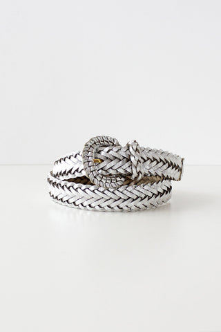 Silver Leather Braided Belt