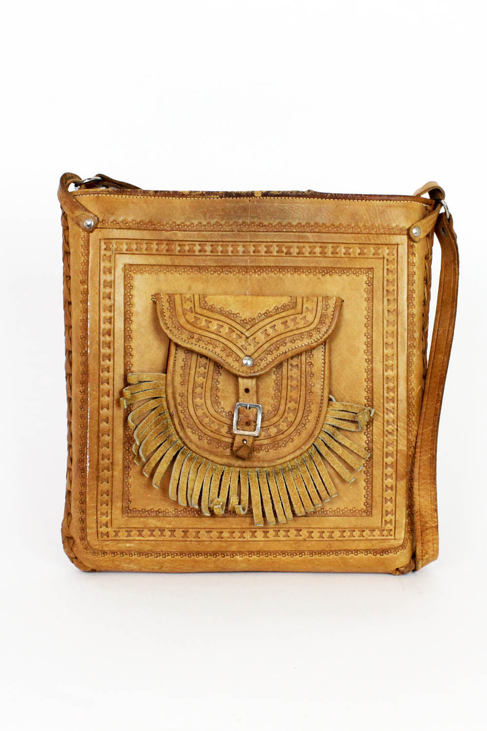70s tooled leather purse