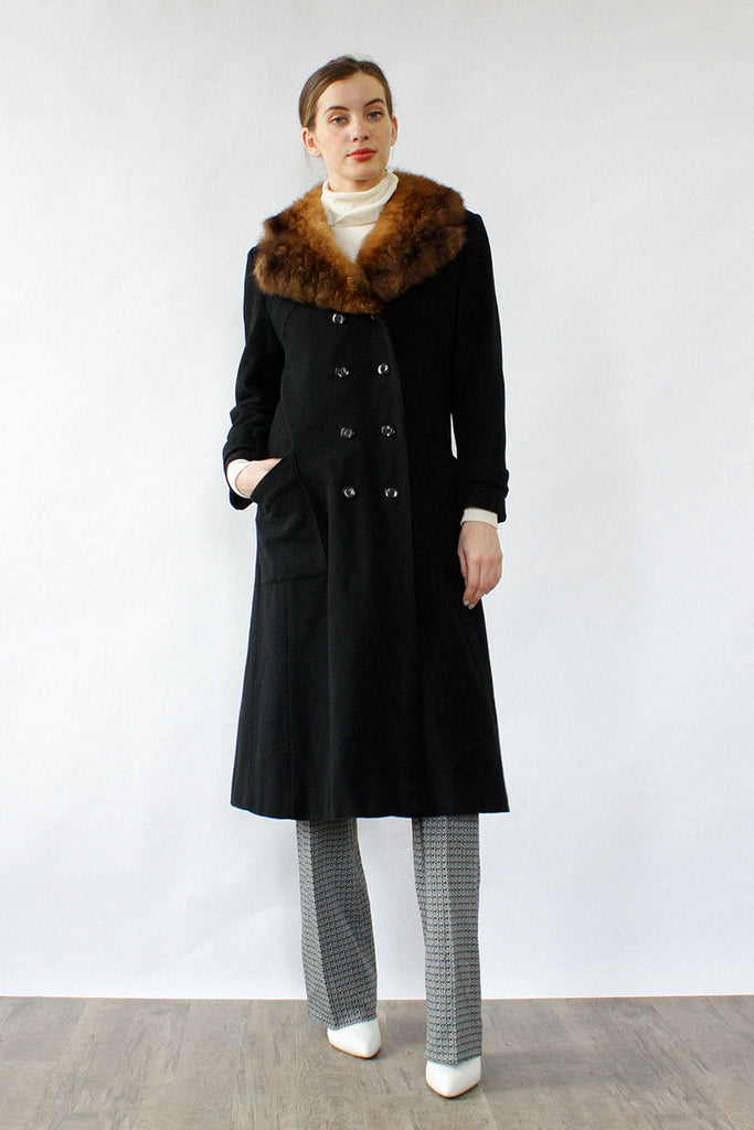 Domino Fur Collar Black Coat S/M