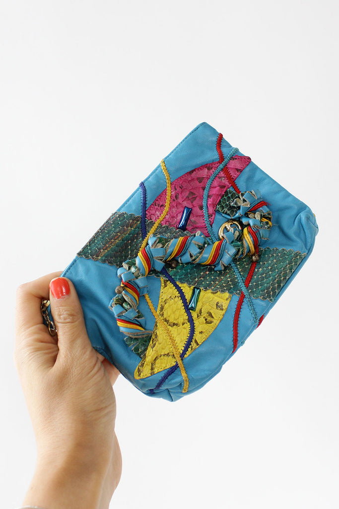 Aqua Mixed Media Pouch