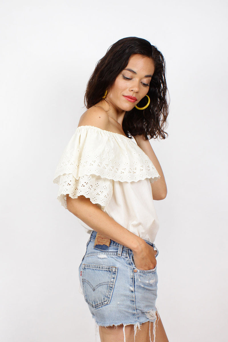 Off Shoulder Eyelet Blouse