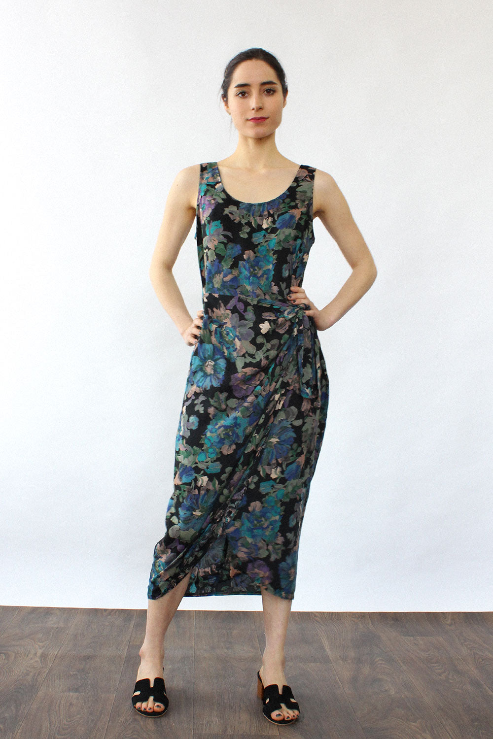 Watercolor Floral Drape Dress S/M